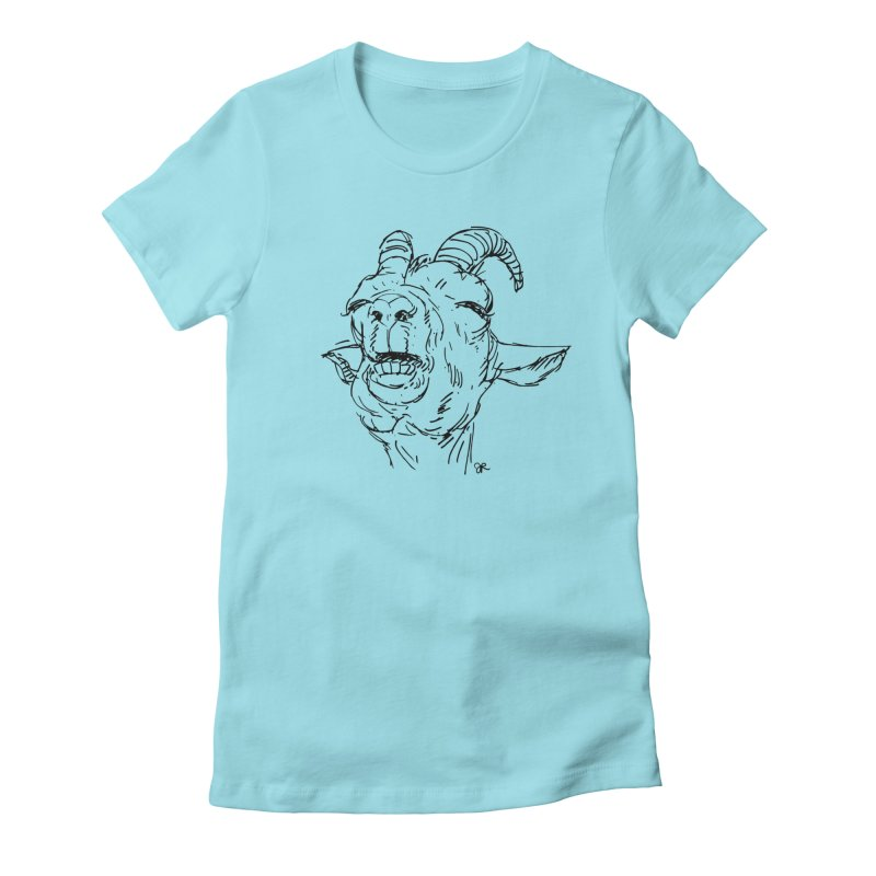Goat Sketch in Women's Fitted T-Shirt Cancun by JaimeRamirezArt's Shop