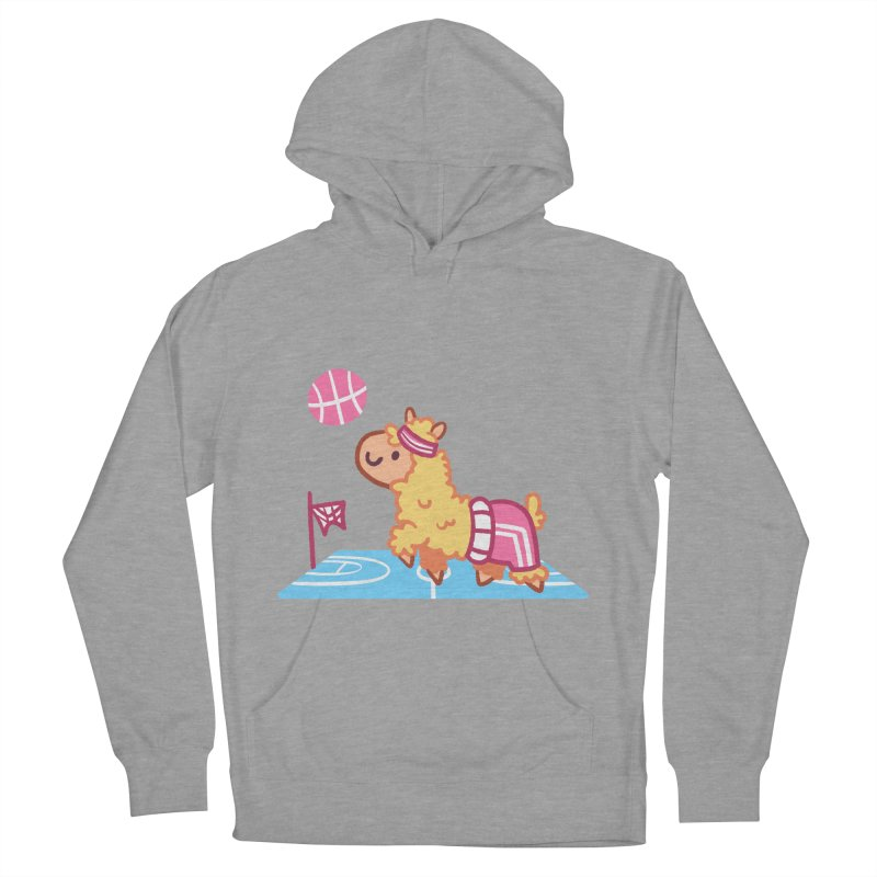 Sporty Llama Women's French Terry Pullover Hoody by Art of Jaime Ugarte