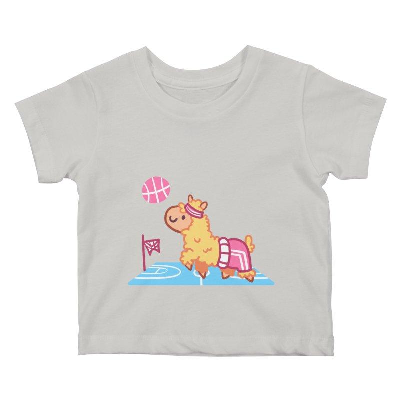 Sporty Llama Kids Baby T-Shirt by Art of Jaime Ugarte