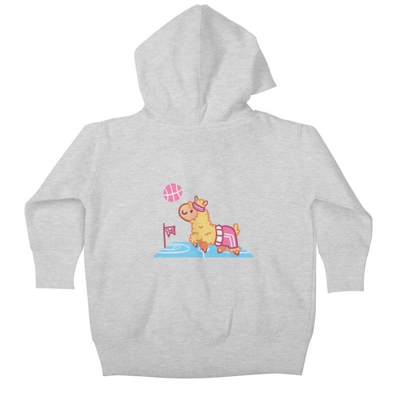 Sporty Llama Kids Baby Zip-Up Hoody by Art of Jaime Ugarte