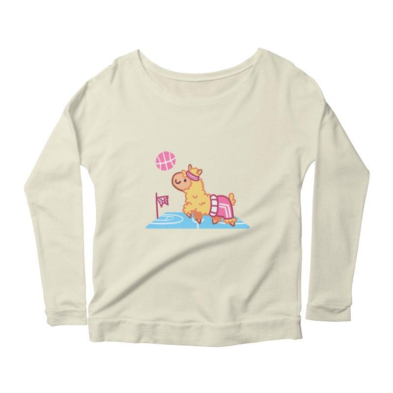 Sporty Llama Women's Scoop Neck Longsleeve T-Shirt by Art of Jaime Ugarte