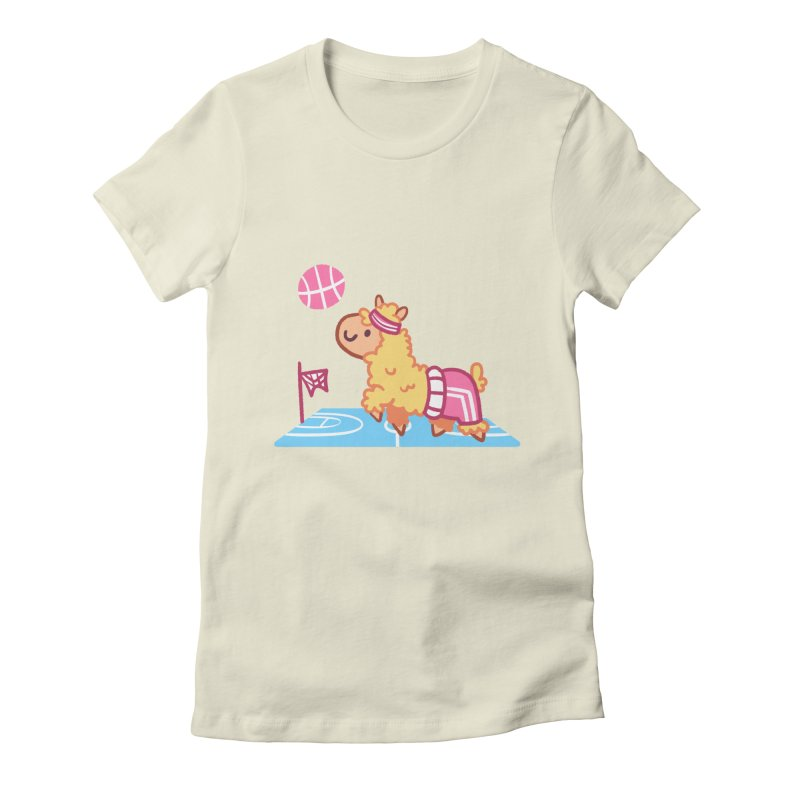Sporty Llama Women's Fitted T-Shirt by Art of Jaime Ugarte