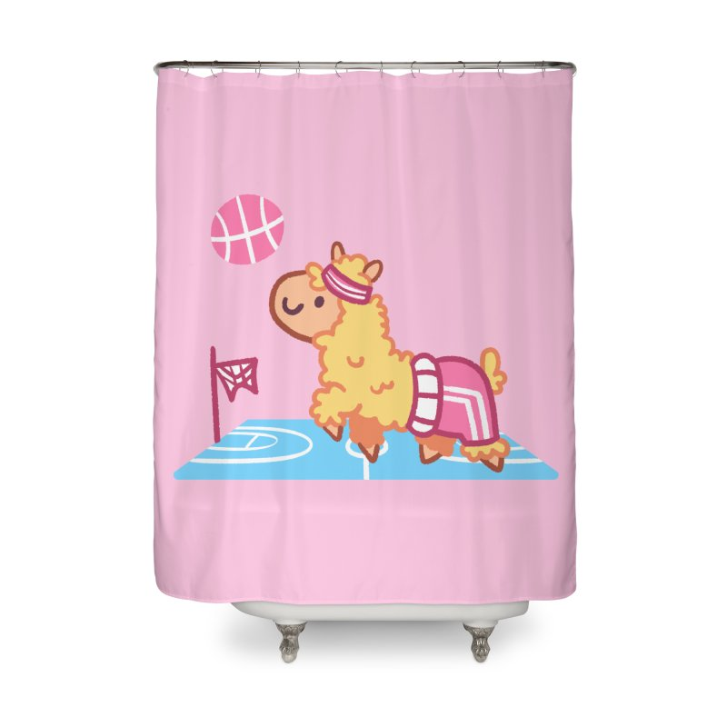 Sporty Llama Home Shower Curtain by Art of Jaime Ugarte