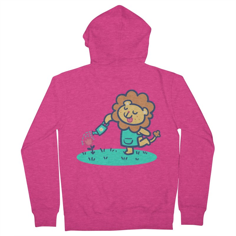 Landscaping Lion Women's French Terry Zip-Up Hoody by Art of Jaime Ugarte