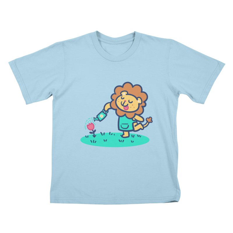 Landscaping Lion Kids T-Shirt by Art of Jaime Ugarte