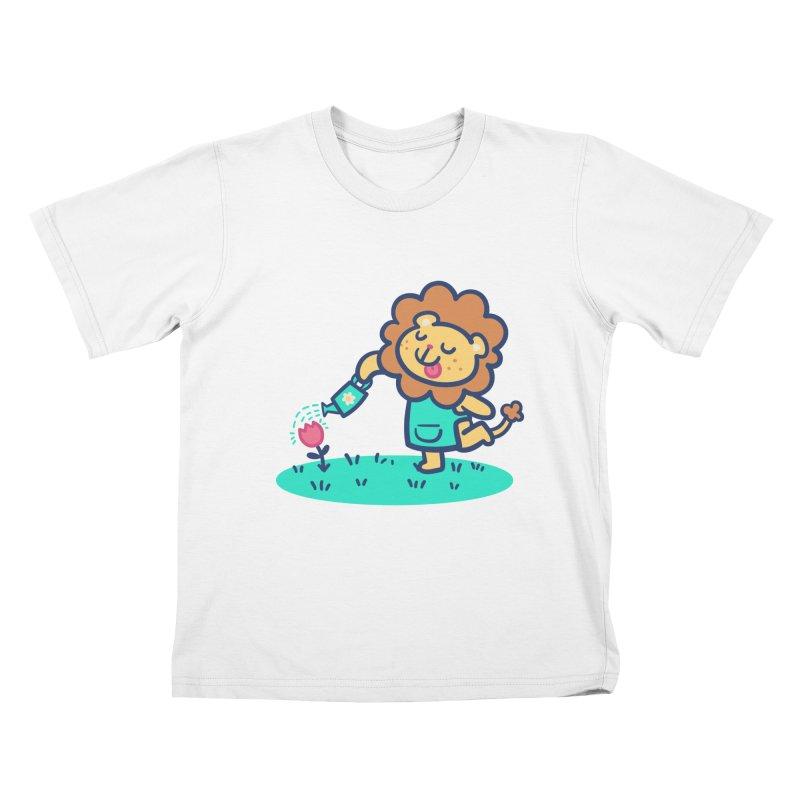 Landscaping Lion Kids T-Shirt by Art of Jaime Ugarte