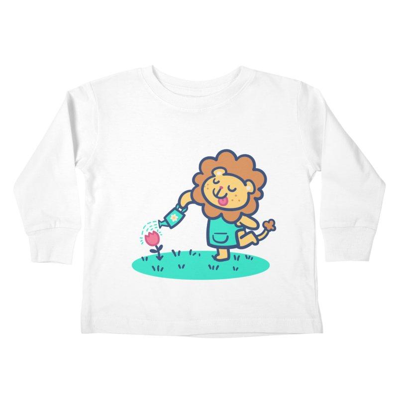 Landscaping Lion Kids Toddler Longsleeve T-Shirt by Art of Jaime Ugarte