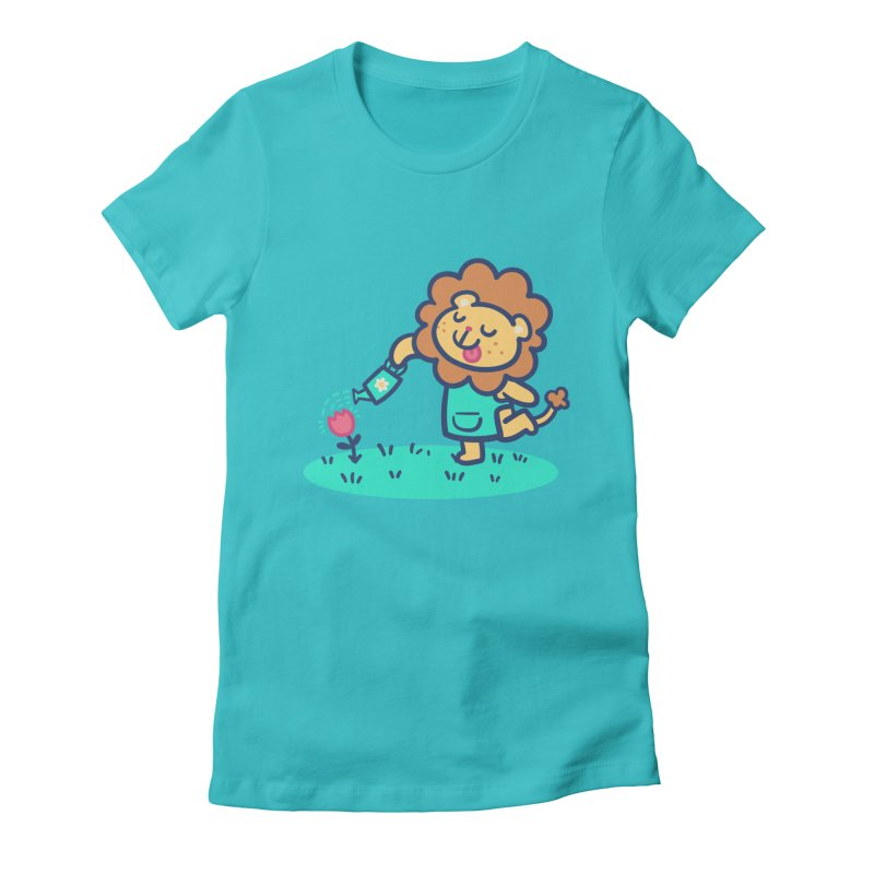 Landscaping Lion Women's Fitted T-Shirt by Art of Jaime Ugarte
