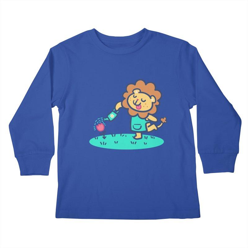 Landscaping Lion Kids Longsleeve T-Shirt by Art of Jaime Ugarte