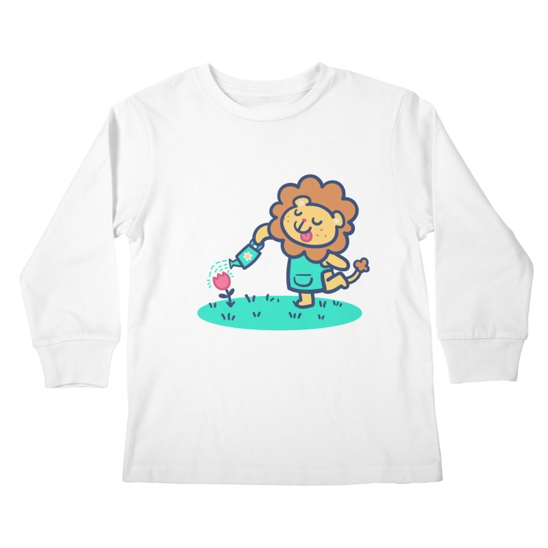 Landscaping Lion Kids Longsleeve T-Shirt by Art of Jaime Ugarte