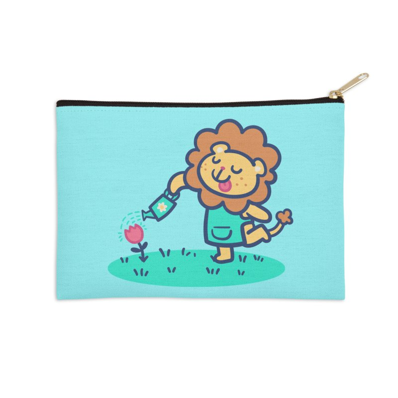 Landscaping Lion Accessories Zip Pouch by Art of Jaime Ugarte