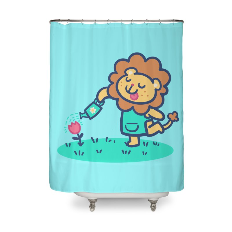 Landscaping Lion Home Shower Curtain by Art of Jaime Ugarte