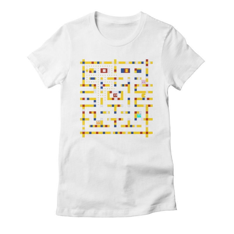 Pac-Man Boogie Woogie Women's Fitted T-Shirt by Jake Friedman