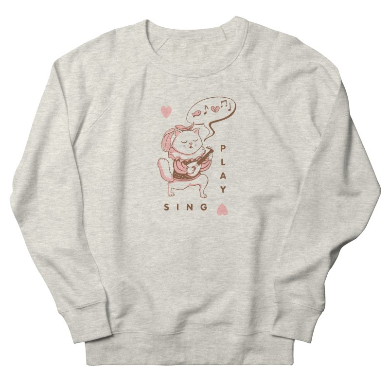Lute Player Cat Women's French Terry Sweatshirt by Jake Giddens' Shop