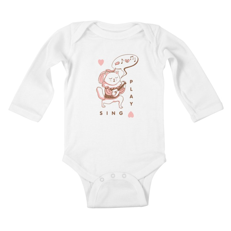 Lute Player Cat Kids Baby Longsleeve Bodysuit by Jake Giddens' Shop