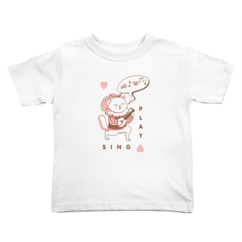 Lute Player Cat Kids Toddler T-Shirt by Jake Giddens' Shop