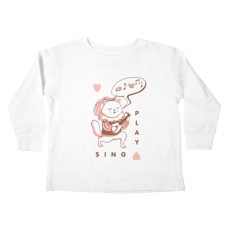 Lute Player Cat Kids Toddler Longsleeve T-Shirt by Jake Giddens' Shop