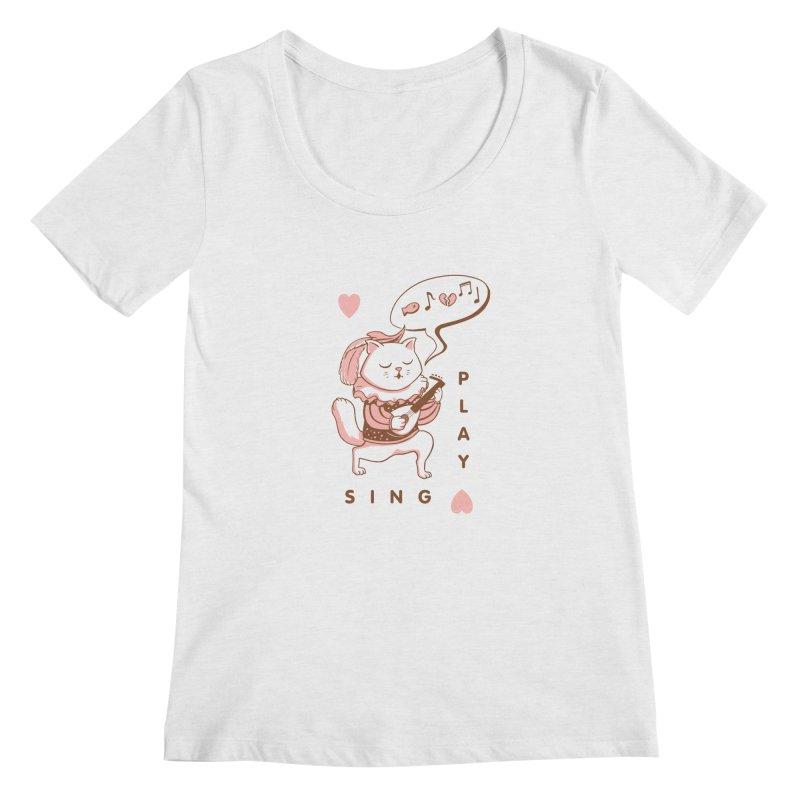 Lute Player Cat Women's Regular Scoop Neck by Jake Giddens' Shop