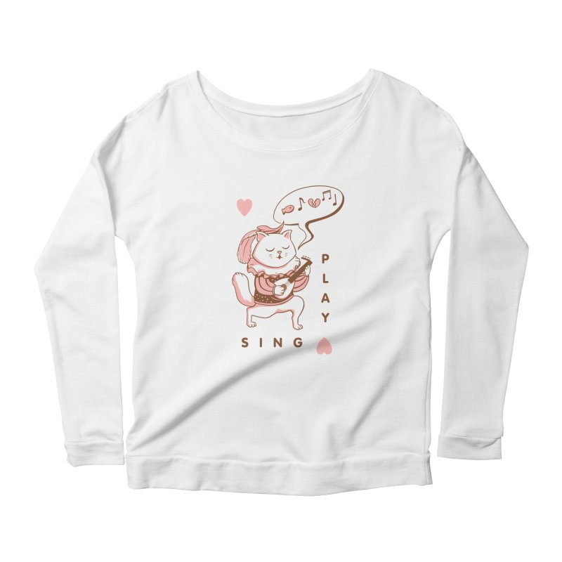 Lute Player Cat Women's Scoop Neck Longsleeve T-Shirt by Jake Giddens' Shop