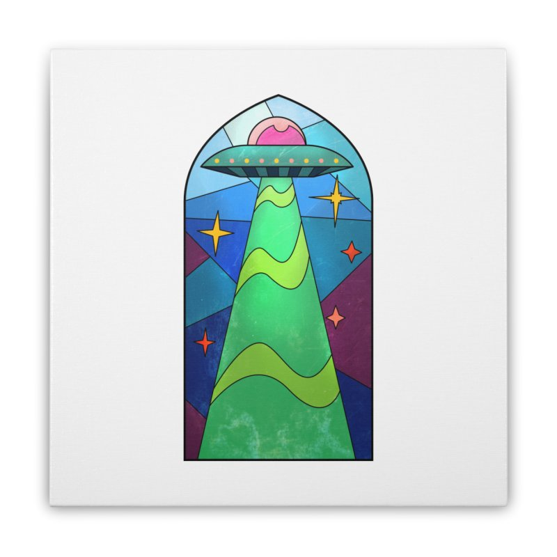 UFO Stained Glass Home Stretched Canvas by Jake Giddens' Shop