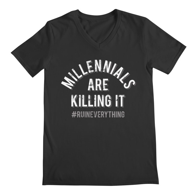 Millennials Are Killing It Men's Regular V-Neck by Jake Giddens' Shop