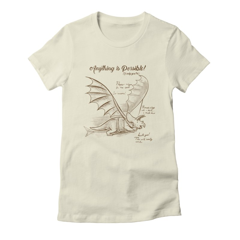 Flying Triceratops Women's Fitted T-Shirt by Jake Giddens' Shop