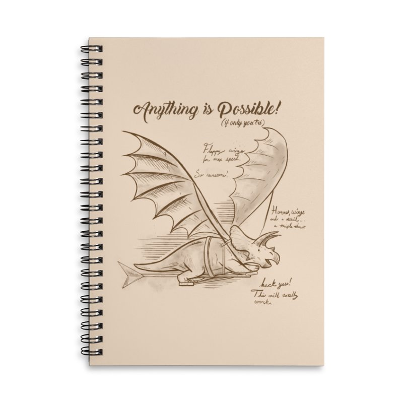 Flying Triceratops Accessories Lined Spiral Notebook by Jake Giddens' Shop