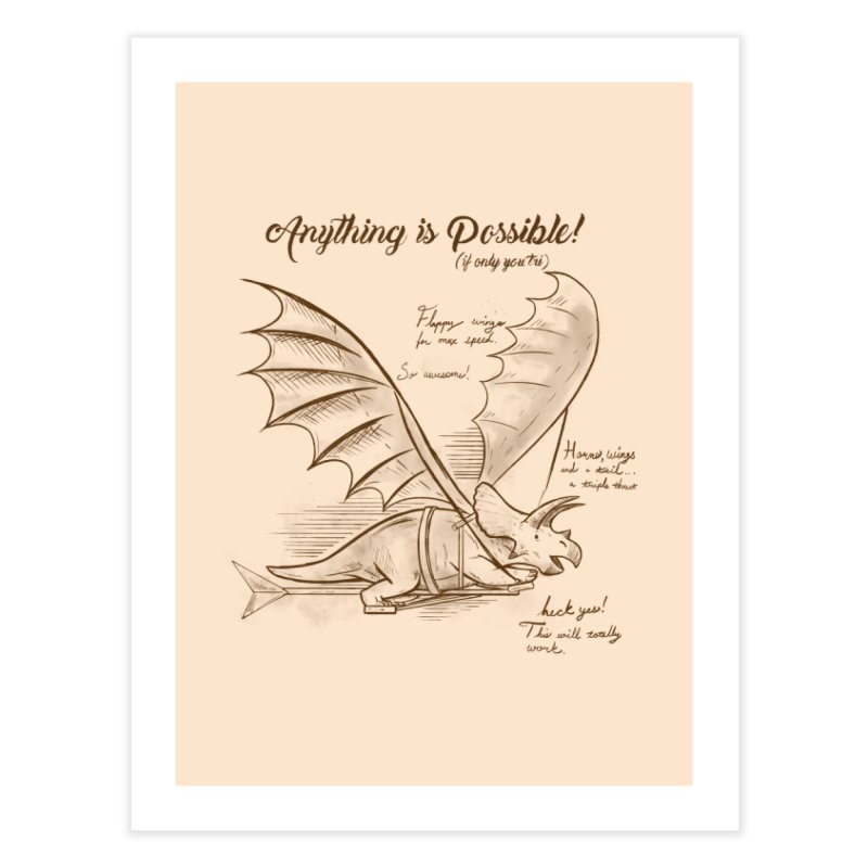 Flying Triceratops Home Fine Art Print by Jake Giddens' Shop