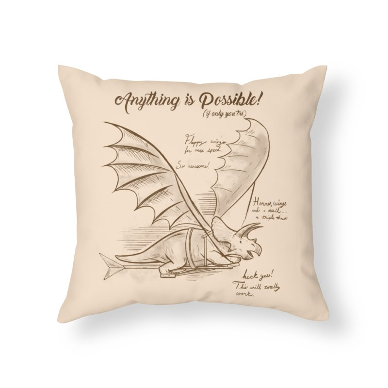 Flying Triceratops Home Throw Pillow by Jake Giddens' Shop