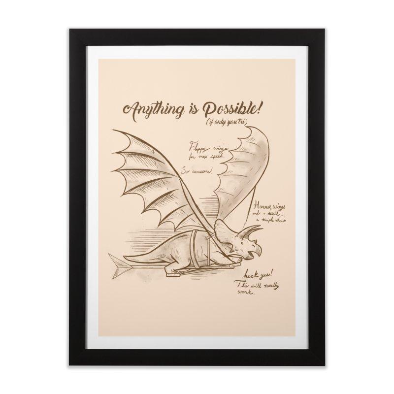 Flying Triceratops Home Framed Fine Art Print by Jake Giddens' Shop