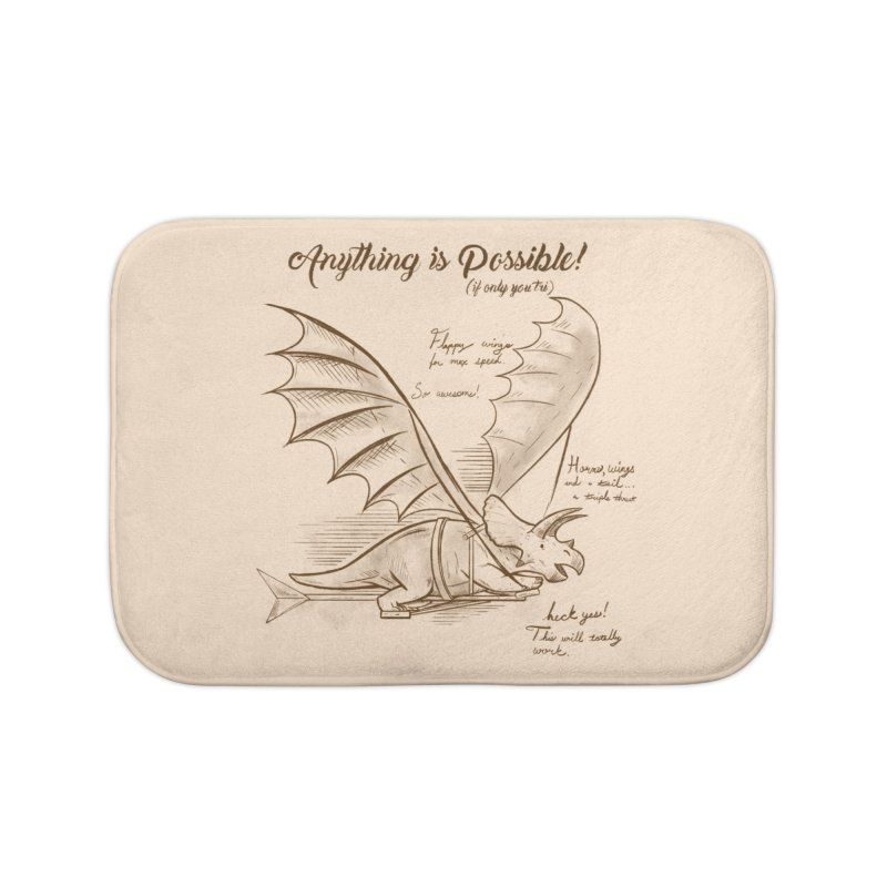 Flying Triceratops Home Bath Mat by Jake Giddens' Shop