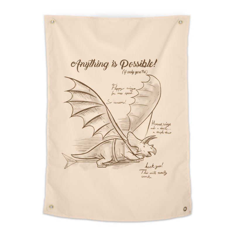 Flying Triceratops Home Tapestry by Jake Giddens' Shop