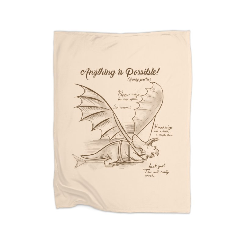Flying Triceratops Home Fleece Blanket Blanket by Jake Giddens' Shop