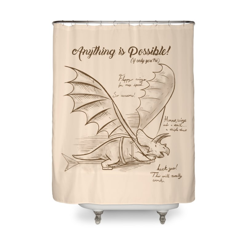 Flying Triceratops Home Shower Curtain by Jake Giddens' Shop
