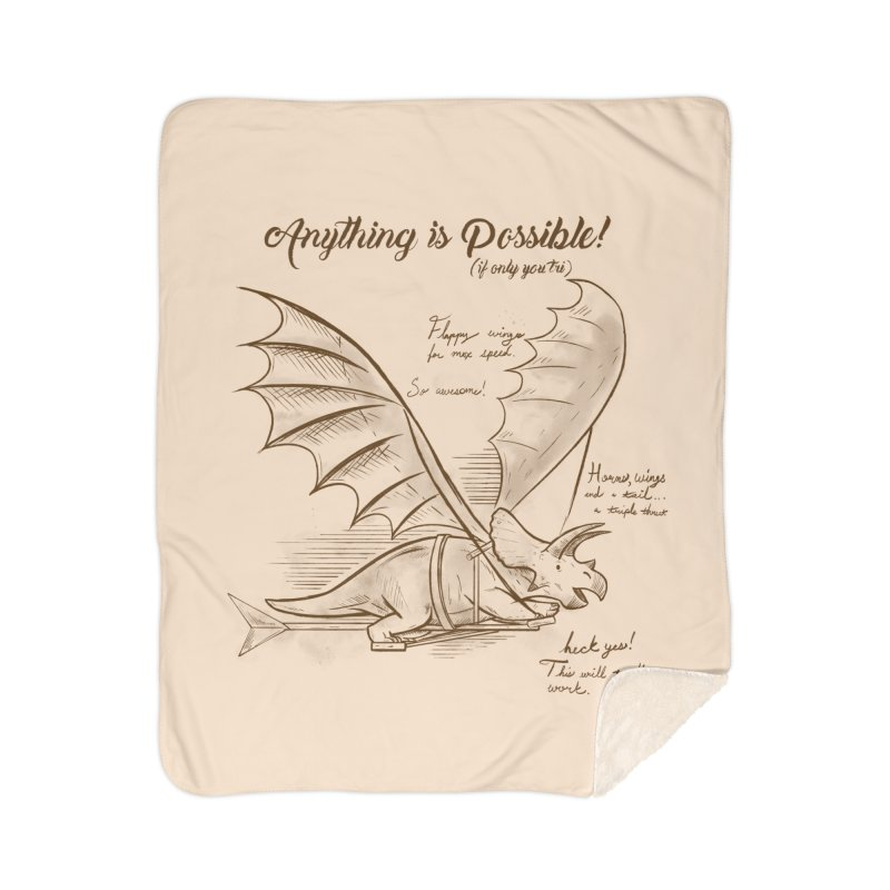 Flying Triceratops Home Sherpa Blanket Blanket by Jake Giddens' Shop