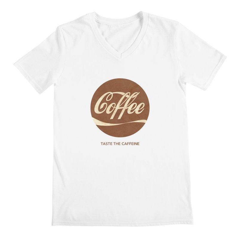 Taste the Caffeine Men's Regular V-Neck by JalbertAMV's Artist Shop
