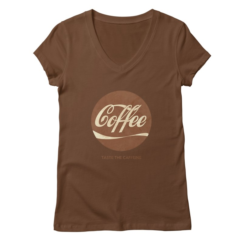 Taste the Caffeine Women's Regular V-Neck by JalbertAMV's Artist Shop