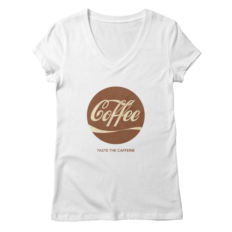 Taste the Caffeine Women's V-Neck by JalbertAMV's Artist Shop