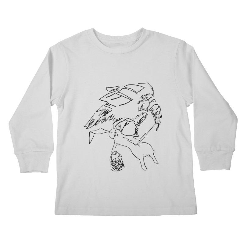 LOVEvulture having a bunny snack Kids Longsleeve T-Shirt by jAM_Aidan Shop