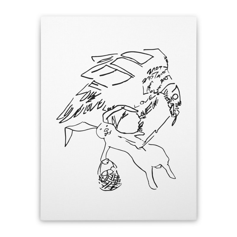 LOVEvulture having a bunny snack Home Stretched Canvas by jAM_Aidan Shop
