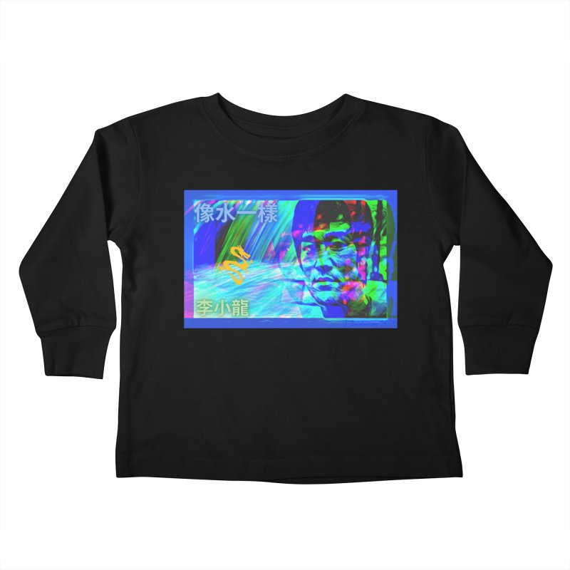 """Bruce Lee """"Be Like Water"""" portrait for his 80th Birthday 2020 Kids Toddler Longsleeve T-Shirt by James DeWeaver - Artist - Official Merchandise"""
