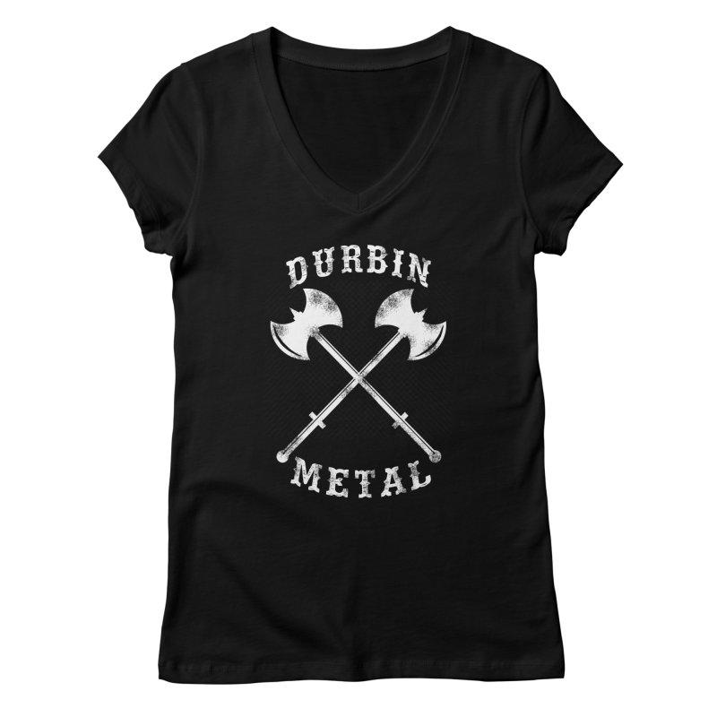 DURBIN METAL (Black & White) Women's V-Neck by James Durbin's Artist Shop