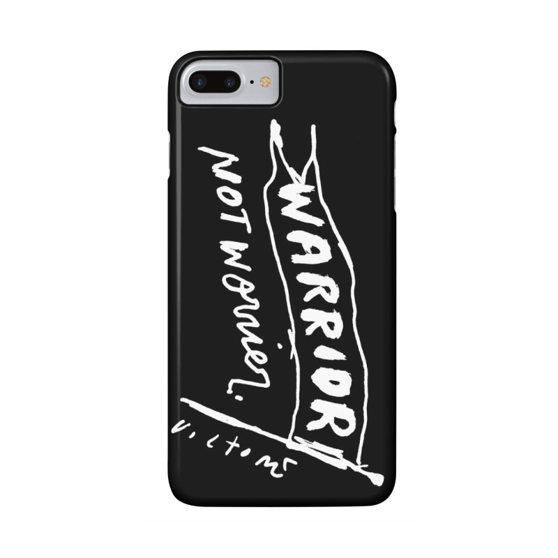 Warrior Not Worrier phone case (black) Accessories Phone Case by James Victore's Artist Shop