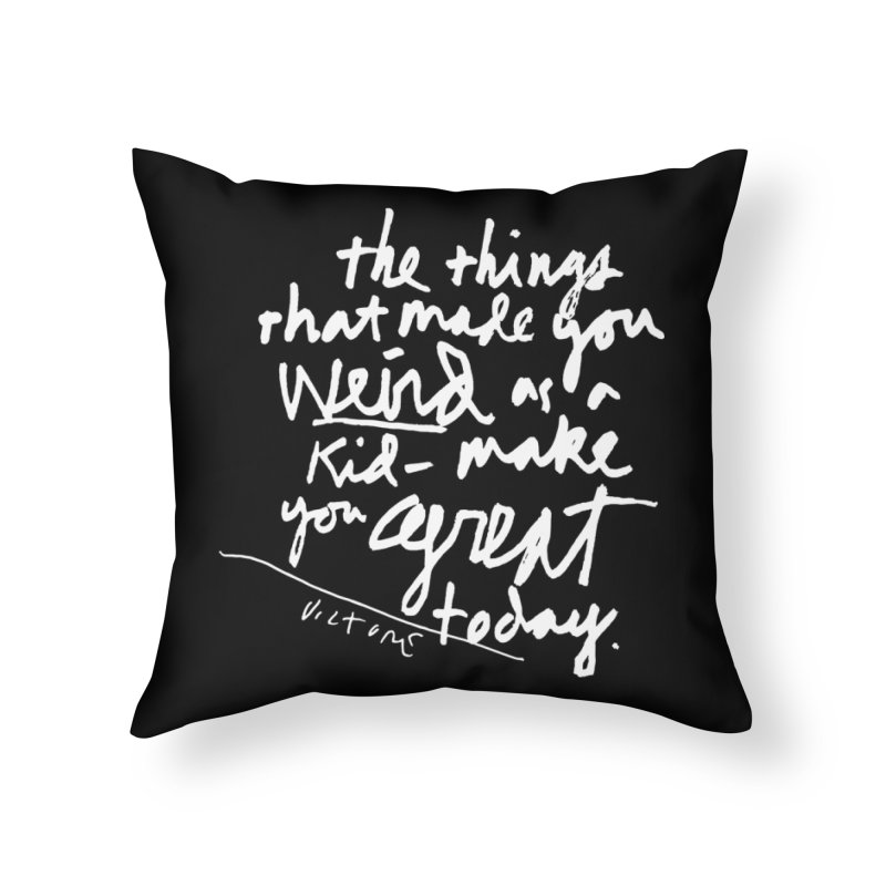 Weird Kid (black) Home Throw Pillow by James Victore's Artist Shop