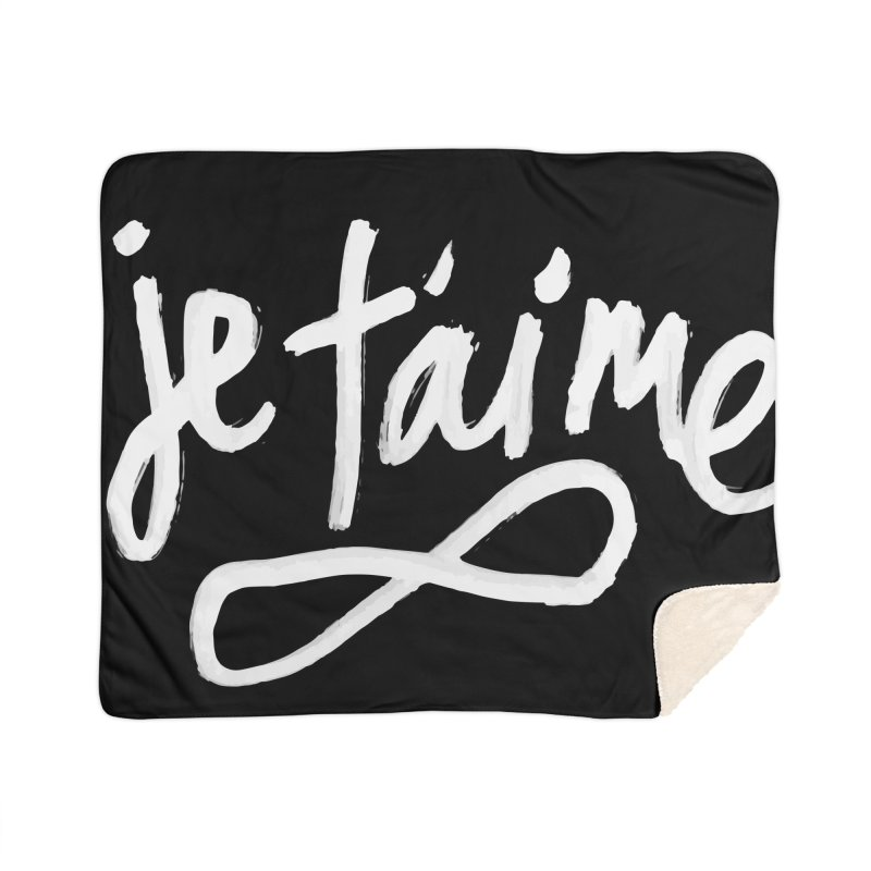 Je T'aime (black) Home Sherpa Blanket Blanket by James Victore's Artist Shop