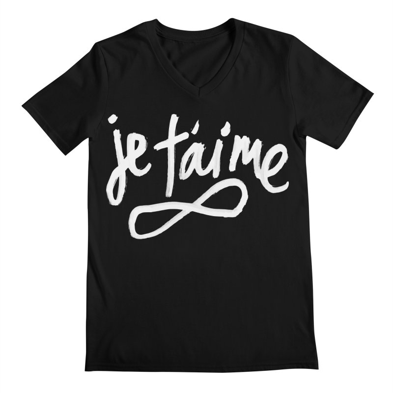 Je T'aime (black) Men's V-Neck by James Victore's Artist Shop