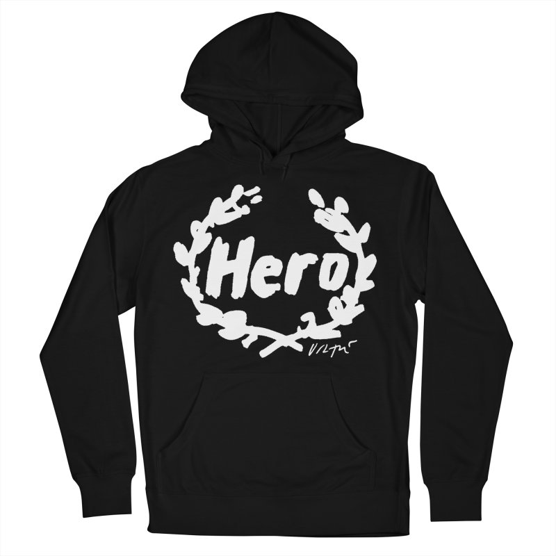 Hero (black) Men's French Terry Pullover Hoody by James Victore's Artist Shop