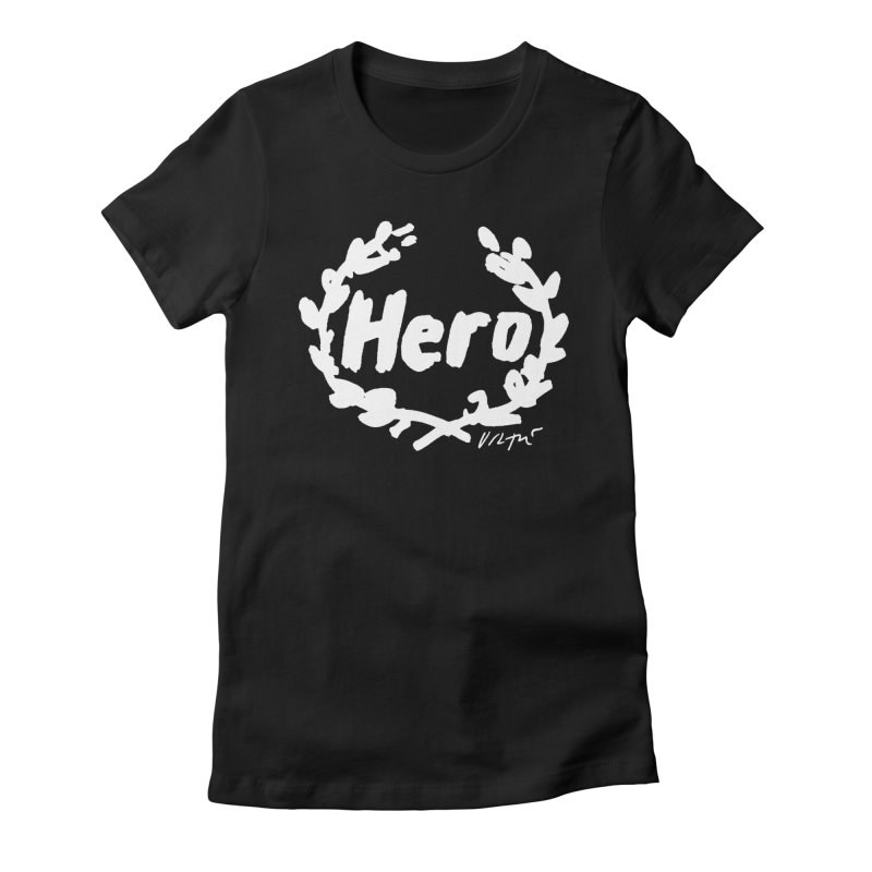 Hero (black) Women's French Terry Zip-Up Hoody by James Victore's Artist Shop