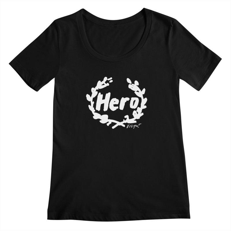 Hero (black) Women's Scoopneck by James Victore's Artist Shop