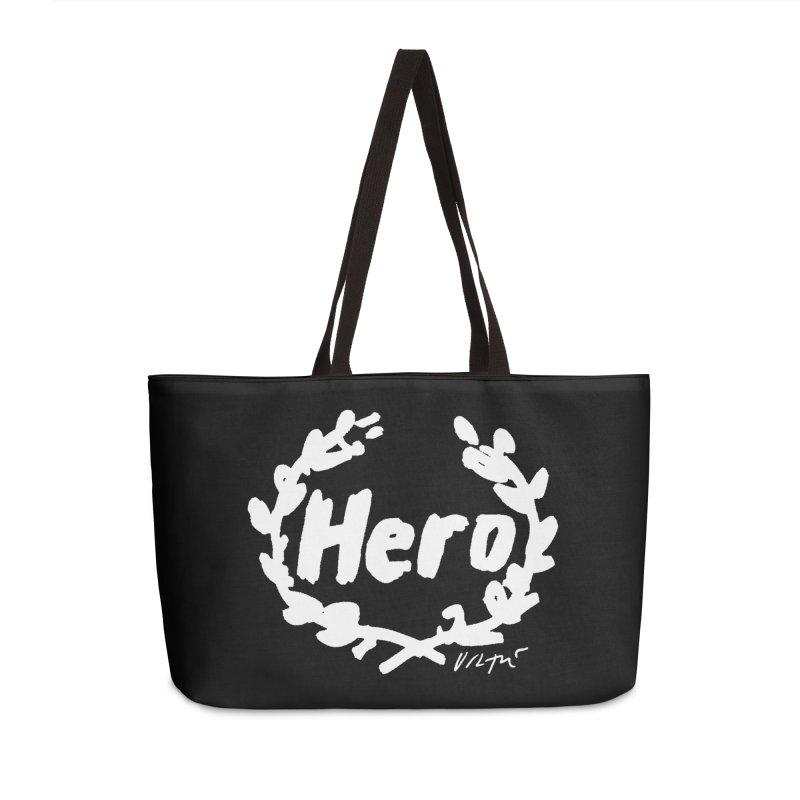 Hero (black) Accessories Weekender Bag Bag by James Victore's Artist Shop